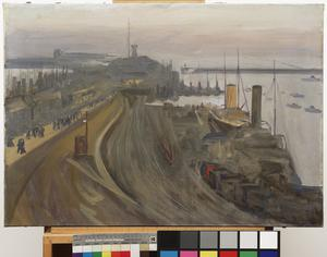 The Naval Base, Granton: Twilight : Booms guarding the Forth are seen in the distance