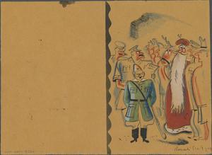Hand-made Christmas Card, Changi Gaol, 1944