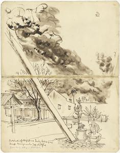 Outskirts of Singapore, Friday February 13, 1942. Dump Burning under Jap Shellfire. Drawn During Shelling. verso: Design, 'Ballet Russe' & Three Sketches of Japanese Soldiers