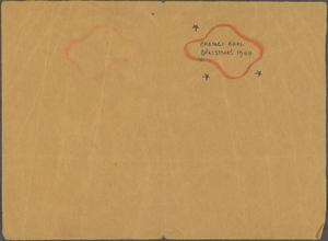Hand-made Christmas Card, Changi Goal, 1944