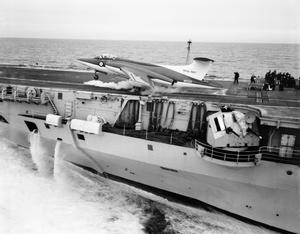 TRIALS OF NA-39, FLEET AIR ARM'S LATEST AIRCRAFT. FEBRUARY 1960, ON BOARD HMS VICTORIOUS, IN THE CHANNEL. CATAPULT AND DECK LANDING TRIALS OF THE BLACKBURN NA-39.