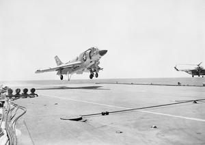 BRITISH AND US AIRCRAFT CARRIERS CROSS OPERATING. NOVEMBER 1961, ON BOARD HMS VICTORIOUS, DURING EXERCISE