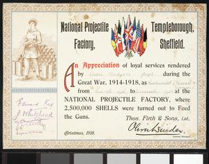 Munitions Factory Certificate of Appreciation, 1918