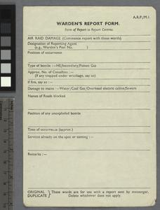 Official Forms and Papers relating to Civil Defence, Second World War