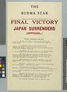 Copy of Japanese Surrender Document (Burma)