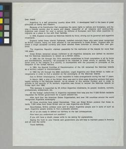 Letter Outlining the Republic of Argentina's Claims to the Falkland Islands, May 1982