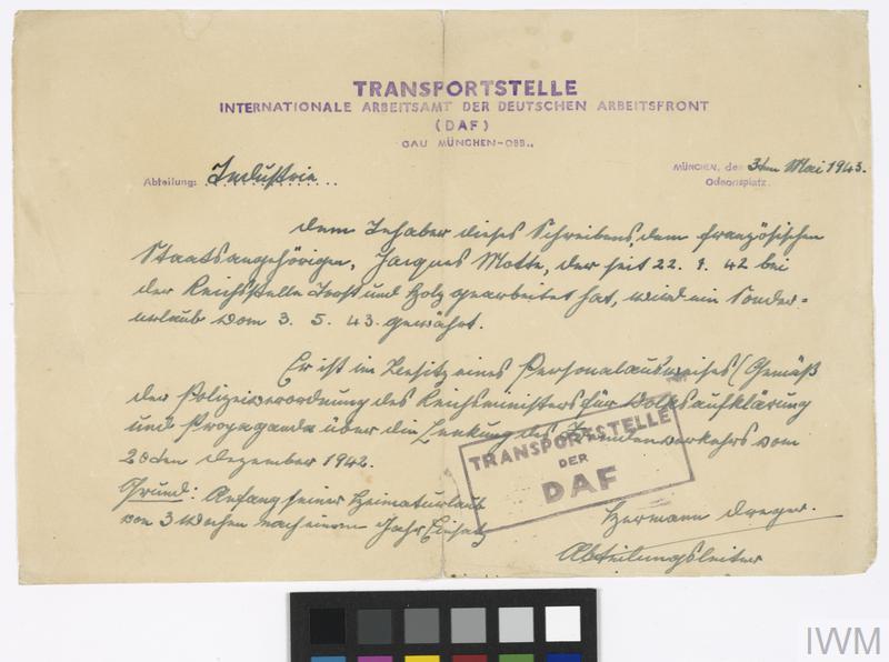 Forged POW Identity Documents, Second World War