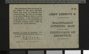 Certificate of Exemption from Military Service, April 1916