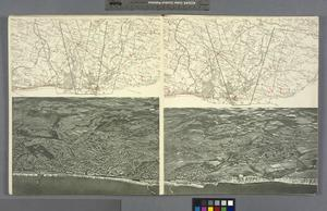 German Aerial Panoramic Photomontage and Map of Defences Between Eastbourne and Dungeness, 1940