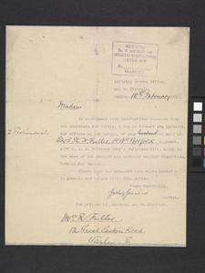 Killed in action letter, October 1914