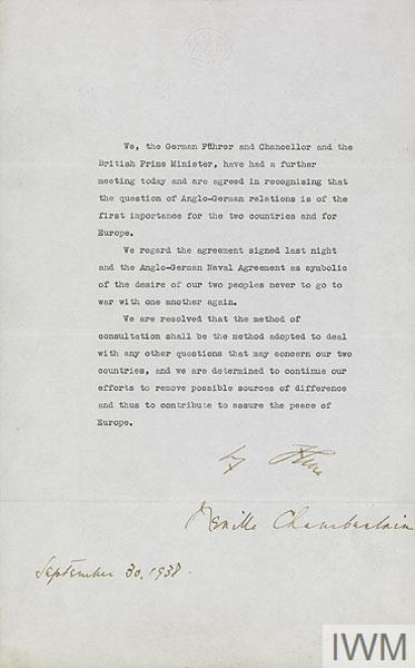 The Anglo-German Declaration, 30 September 1938