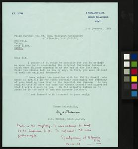 Note by Field Marshal Viscount Montgomery of Alamein about his Ownership of the Luneburg Heath Instrument of Surrender, 1968