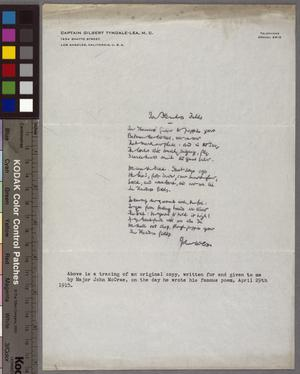 """Tracing of an Original Manuscript of John McCrae's Poem """"In Flanders Fields"""""""