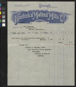 Correspondence of Horlick's Malted Milk Company relating to purchase for Prisoner of War in Germany, June 1915.