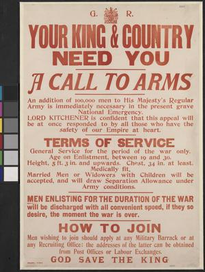 YOUR KING AND COUNTRY NEED YOU (abbrv)