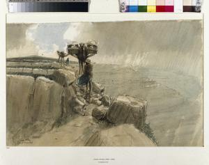Cacolets: Wounded being Conveyed over the Hill of Judaea to the Casualty Clearing Station in Covered-In Stretchers (cacolets) on the Backs of Camels