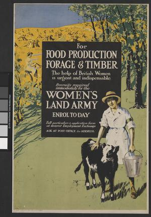RECRUITS REQUIRED IMMEDIATELY FOR THE WOMEN'S LAND ARMY