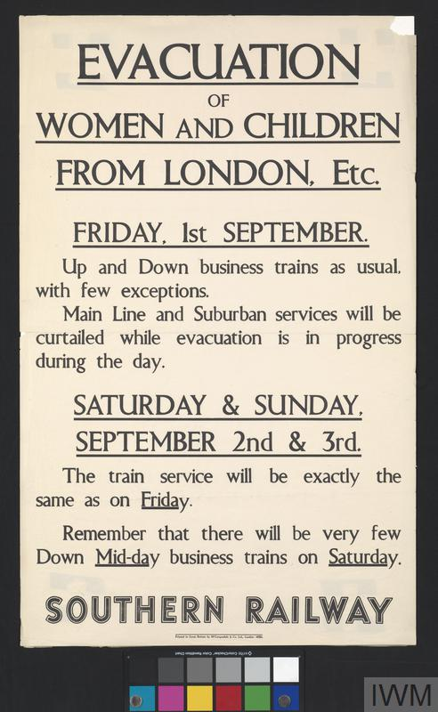 EVACUATION OF WOMEN AND CHILDREN (SOUTHERN RAILWAYS)