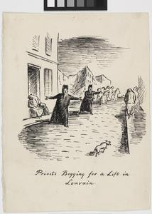 Priests Begging for a Lift in Louvain; Illustrations for 'Baggage to the Enemy'