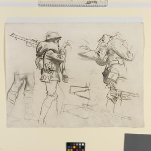 Study for 'Gassed' Studies of standing soldiers with rifles
