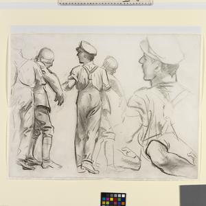 "Study for ""Gassed"" Studies of a medical orderly and wounded men"