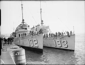 THE ARRIVAL OF THE FIRST FLOTILLA OF DESTROYERS FROM AMERICA TO THE ROYAL NAVY, DEVONPORT, SEPTEMBER 1940