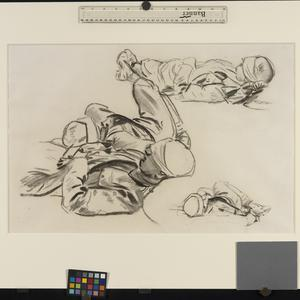 Study for 'Gassed' Three studies of soldiers with bandaged heads