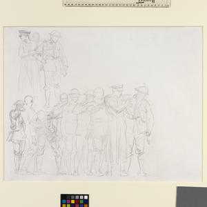 Study for 'Gassed' Line of wounded men with medical orderly