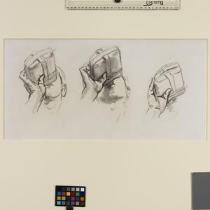 Study for 'Gassed' Three studies of a soldier drinking from his waterbottle