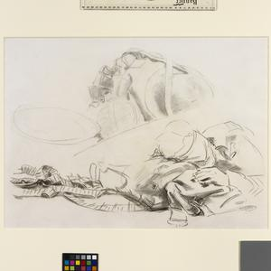 Study for 'Gassed' Soldier and kit