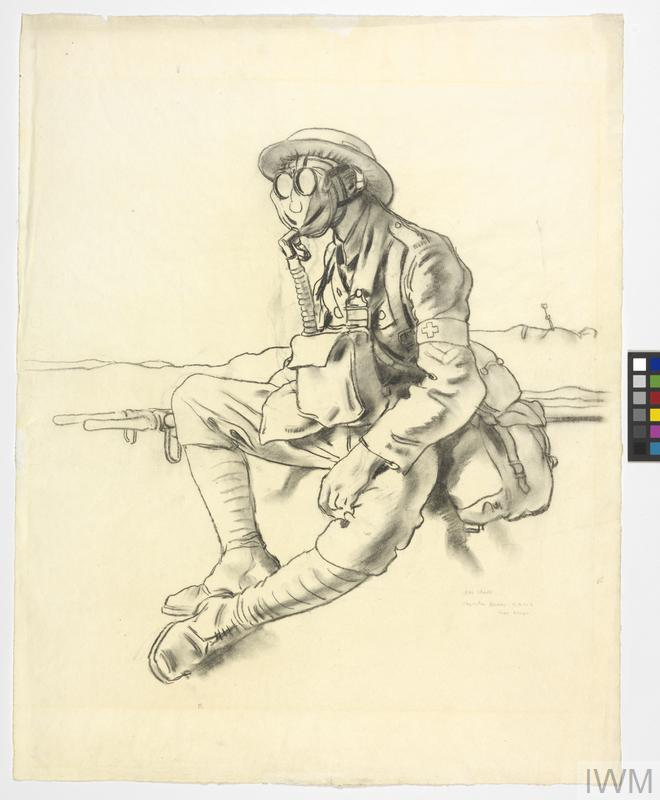 The Gas Mask. Stretcher-bearer, RAMC, near Arras
