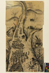 After the Battle, Singapore; British Troops Marching to Changi, Sketched from a Red Cross Truck