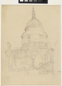 Sketch of bomb-damaged St Paul's