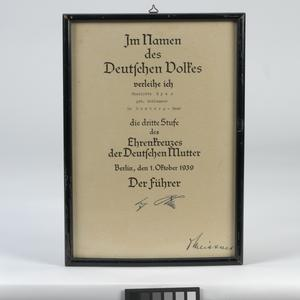 framed certificate for Mother's Cross Award