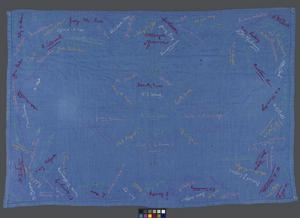 tablecloth, embroidered signatures, Changi, Far East Civilian Internee