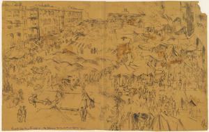 The 'Selarang Incident' Sketched from the Roof of one of the Barrack Blocks, 3 September 1942