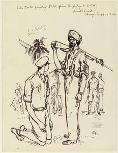 Pro-Japanese Sikh Guard Punishing British Officer for Failing to Salute, Changi, Singapore 1942