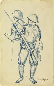 In the Jungle: Japanese Guards, 1943 verso: Thai Farmer
