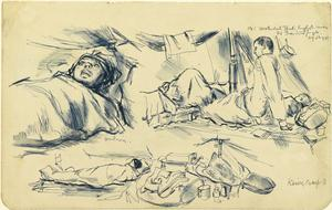 Sick and Dying: Sketched in No.1 Hospital Tent, English Lines, Camp K3, Thailand, 26 August 1943 verso: Malayan Refugees, 1942