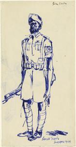 Sketch of a Pro-Japanese Sikh Guard, Changi Gaol, 1944