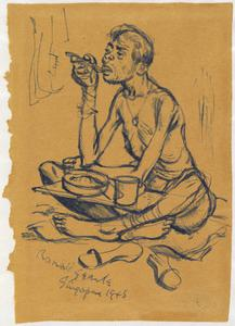 Prisoner Eating, Changi Gaol, Singapore, 1945