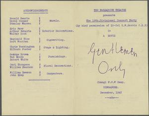 Entertainment: Various Notes and Sketches, Changi Palladium, The Barn, Sime Road, Coconut Grove, Changi Gaol etc, 1942-1945