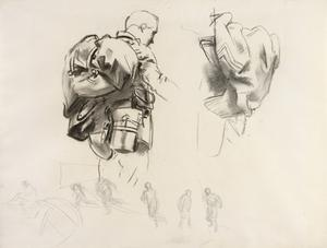 Study for 'Gassed' Half-length study of soldier in full kit plus drawings of soldiers playing football