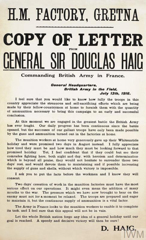 Copy Of Letter From General Sir Douglas Haig ArtIWM PST