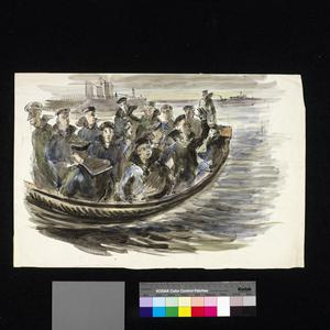 Sailors in a Lifeboat by the Dock