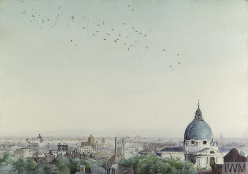 A Daylight Raid On London, 7th July 1917: Seen from the roof of the Royal College of Science with the Brompton Oratory in the foreground