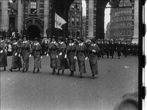 THE END OF A WELL FOUGHT WAR : the Peace Procession 1919 [Main Title]