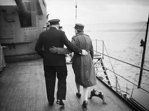 PRIME MINISTER WINSTON CHURCHILL ABOARD HMS DUKE OF YORK FOR VISIT TO AMERICA, DECEMBER 1941