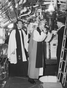 THE BISHOP OF LIVERPOOL VISITS ONE OF HM SUBMARINES