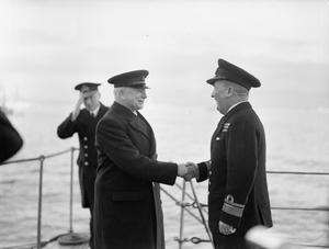 MR A V ALEXANDER, FIRST LORD OF THE ADMIRALTY ON A THREE DAY VISIT TO THE HOME FLEET, SCAPA FLOW, JANUARY 1943
